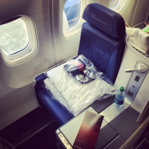 The BusinessElite seat aboard Delta's 767-300's.