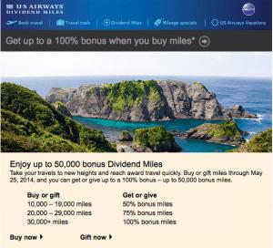 US Airways 100% bonus