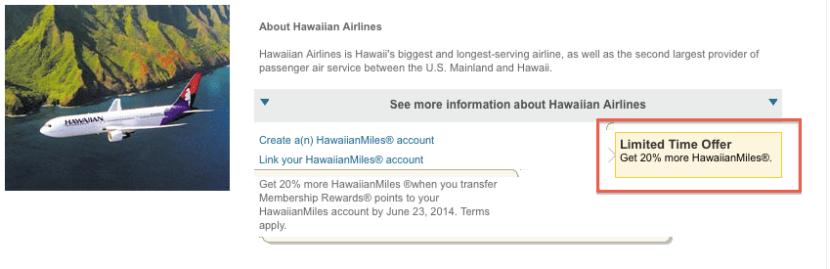 Amex Hawaiian Transfer