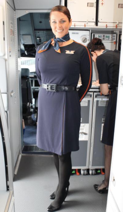 JetBlue flight lead Deborah showcasing the new uniforms by Stan Herman