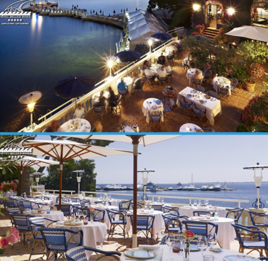 View of the terrace and private pier at the Hotel Belles Rives...images courtesy of the hotel