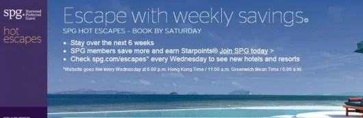 Get great discounts with SPG Weekly Escapes