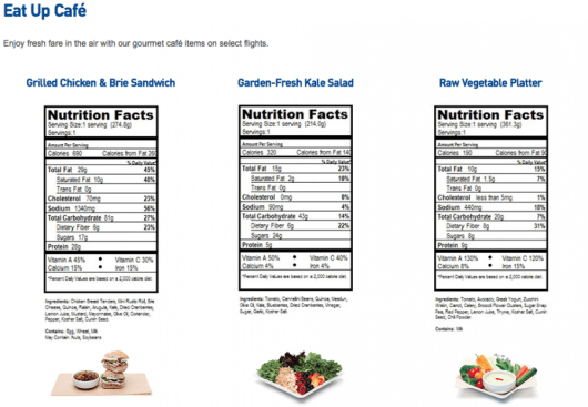 JetBlue eat up cafe nutrition
