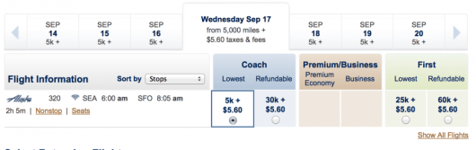Seattle-San Francisco for 5,000 miles each-way.