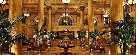 The lobby of the historic Willard hotel on Pennsylvania Avenue in Washington D.C.