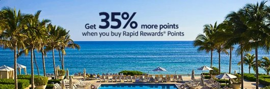 Earn up to a 35% bonus on purchased Southwest Airlines Rapid Rewards.