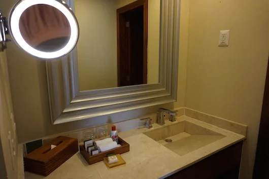 The spacious marble bathroom vanity. Note the CHI products.