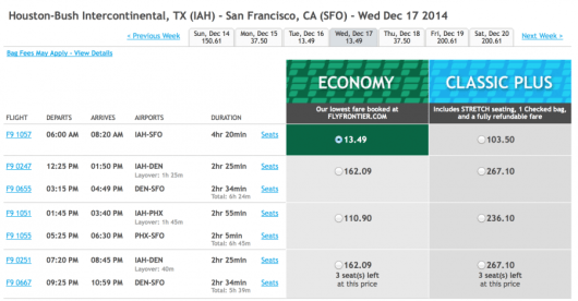 Score a 14.99 fare from Houston to San Francisco.