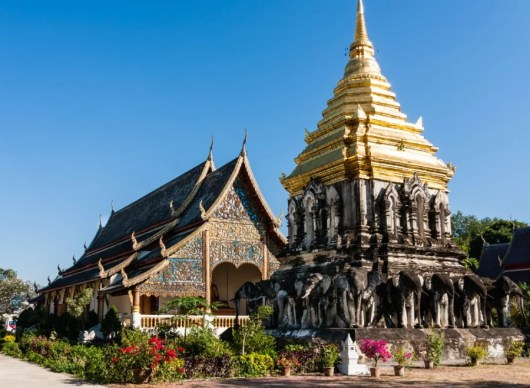 Wat Chiang Mai has free entrance and is located in the city center of Chiang Mai
