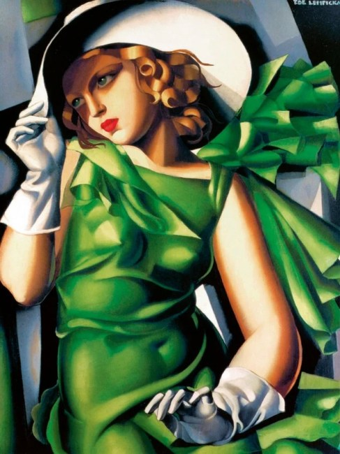 """Tamara de Lempicka's oil painting, """"Young Lady in Green"""" (1927)"""