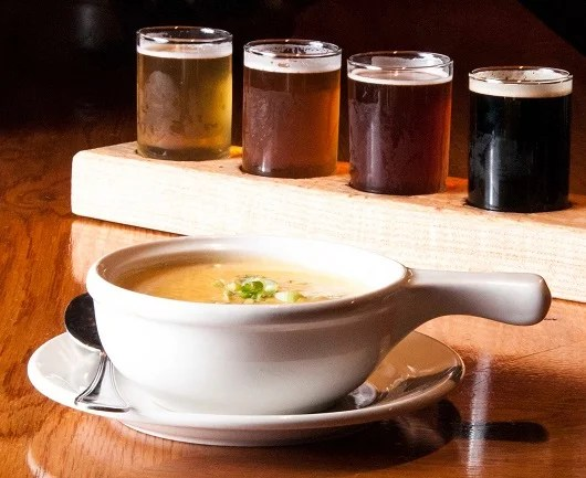Cheddar ale soup and a flight of beer, anyone?