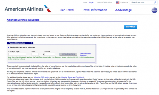 You can use up to 8 eVouchers on American Airlines and select codeshare flights; they are also transferable to others.