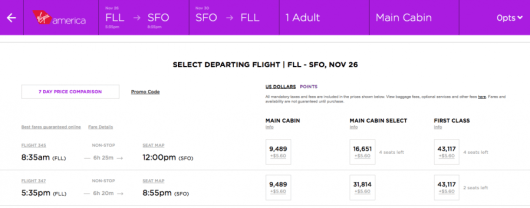 If I wanted to visit my aunt & uncle in San Francisco for Thanksgiving, Virgin America would cost