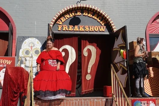 Yes, that's a bearded lady at the Venice Beach Freak Show. Photo by Shayne Benowitz.