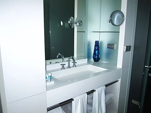 The sink and mirror area
