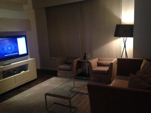 There was a large sitting area immediately upon entering the room.
