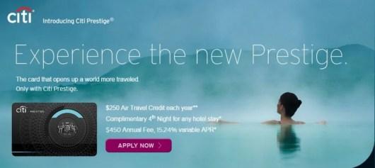 Citi Prestige card banner
