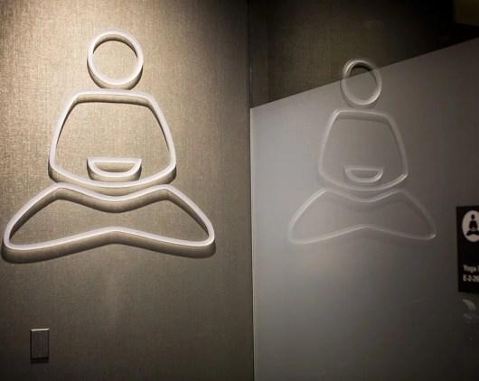 Get your blood circulating during your layer in SFO's yoga room. Namaste.
