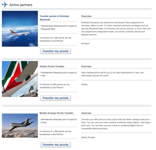 UK Membership Rewards points can be transferred to 12 airline and 3 hotel partners.
