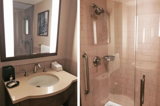 The bathroom's shower actually stretches a few feet farther across than you see in this photo - it's really big!