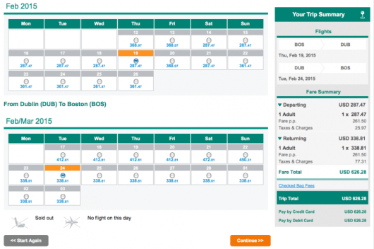 Taxes and fees on an Aer Lingus ticket from Boston to Dublin are just $103.