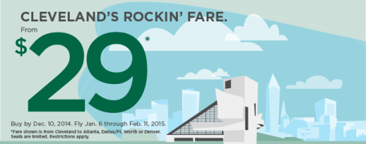 Frontier is running fares from Cleveland for $29 each way.
