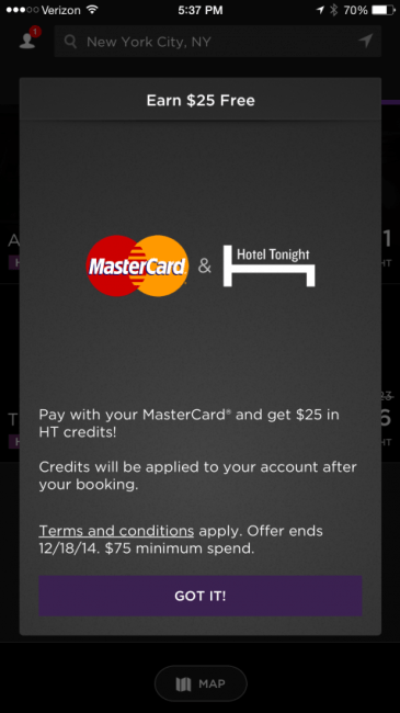 Get a $25 credit when you book over $75 with your MasterCard