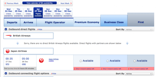 JAL SFO HND Availability