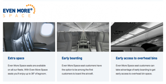 JetBlue's premium seats are called Even More Space.