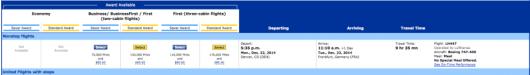 Flying Denver-Frankfurt might be worth the 110,000 miles.