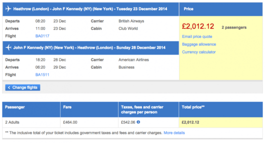 Through this sale, a typical cost for two roundtrip seats in business class from LHR to JFK (here, Dec. 23-28) is 2,012/