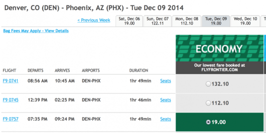 Fly from Denver to Phoenix for under $19 one-way.