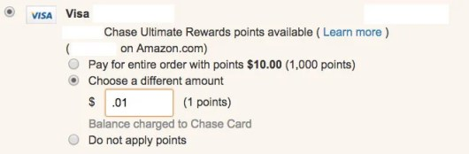 The credit card linked to your Amazon.com card will ask you to enter an amount of points—and you should enter .01 for 1 point