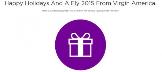 Get 500 Elevate bonus points from Virgin America
