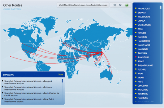 China Eastern's routes to North America.