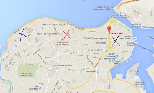 Neighborhoods in Havana: Blue X: Miramar, Red X: Vedado, Black X: Old Havana