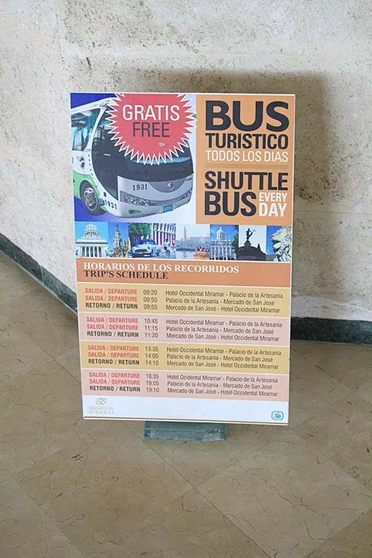 The hotel offers a free shuttle bus three times daily