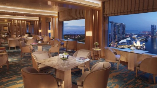 The luxurious lounge at the Ritz-Carton Singapore