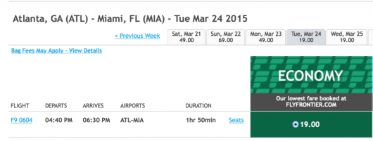 Fly from Atlanta, GA to Miami, FL for only $19 one-way.