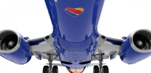 Southwest Airlines plane from below