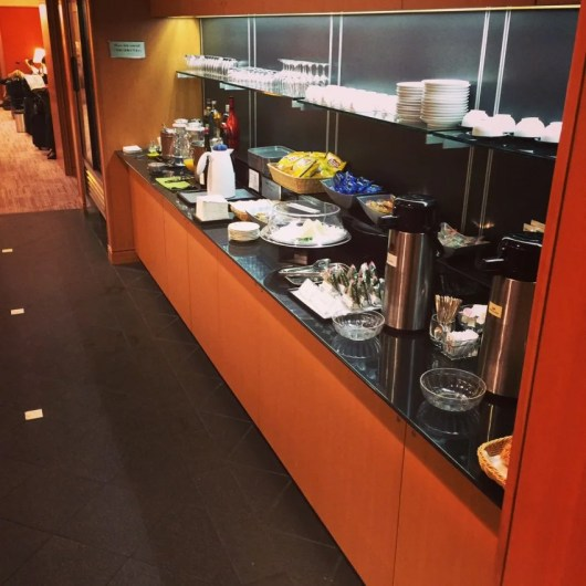 The meager food offerings at the Sakura Lounge