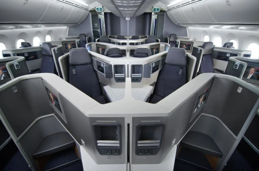 American Airlines' 787 Dreamliner Business Class cabin.