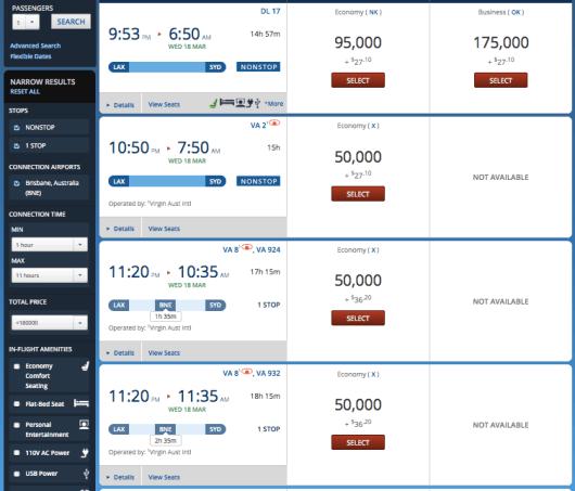 Delta Virgin flights