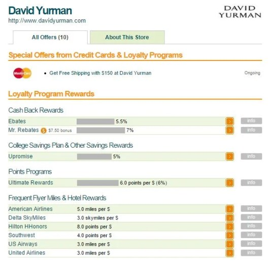 I searched for David Yurman on EVRewards.com, and as you can see, you can get 8 points per $1 spent through the HHonors portal