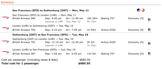 Itinerary for SFO-GOT on British Airways