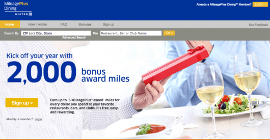 Many dining rewards programs offer bonuses for signing up and making your first purchase; you could earn 2,000 United miles after your first dine!