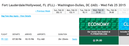 Ft. Lauderdale to Washington-Dulles for $39 one-way.