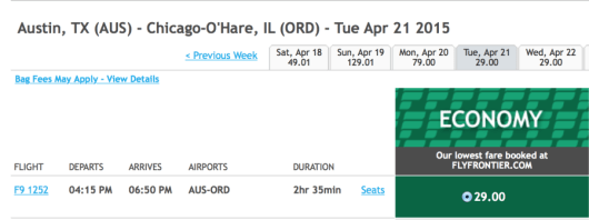 Fly from Chicago-O'Hare to Austin, TX for only $29 one-way.