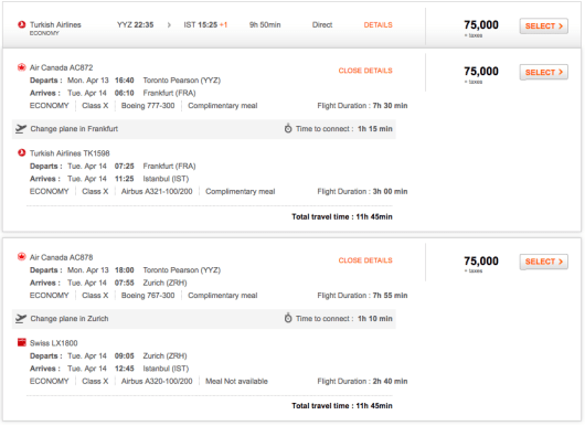 A mixed award itinerary pulled up by Aeroplan.