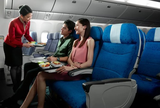 Cathay Pacific's economy cabin gives you a variety of dining options